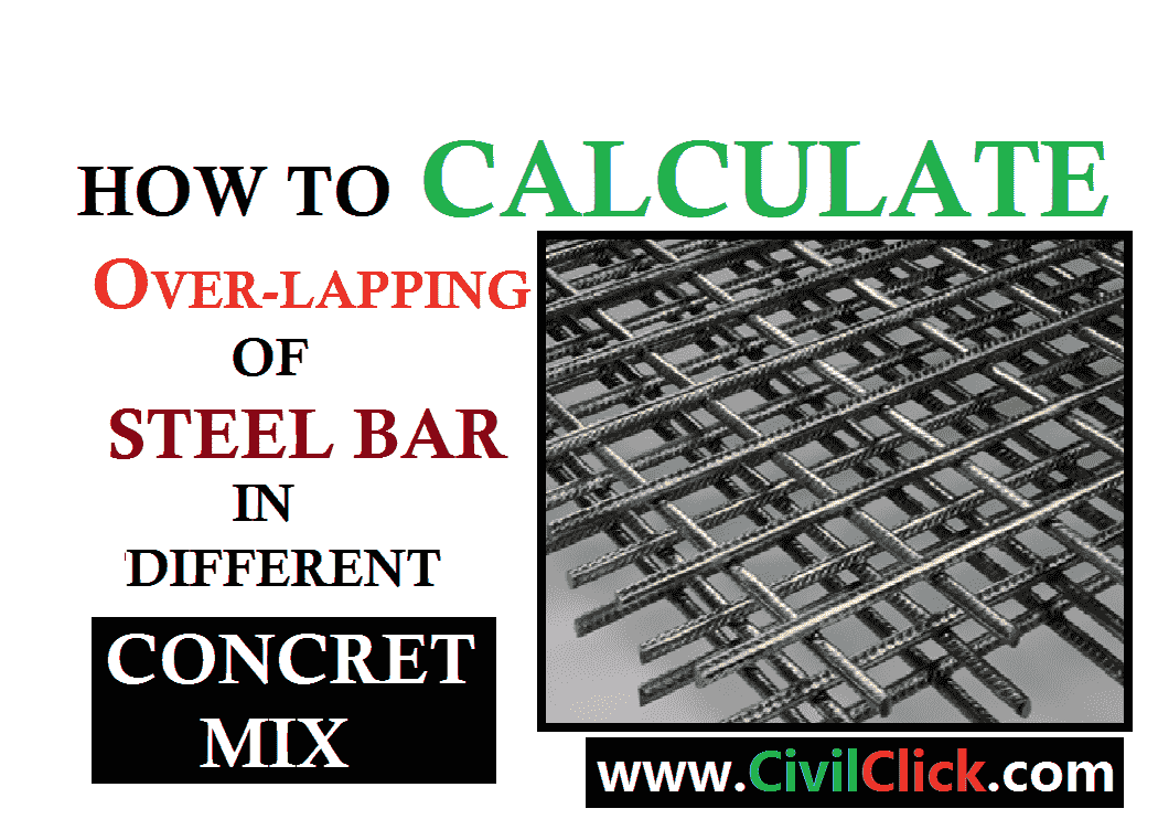 Over Lapping of Steel bars in Different concrete mix M15,20