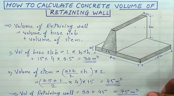 How to find the volume of retaining walls ? - Civil Click